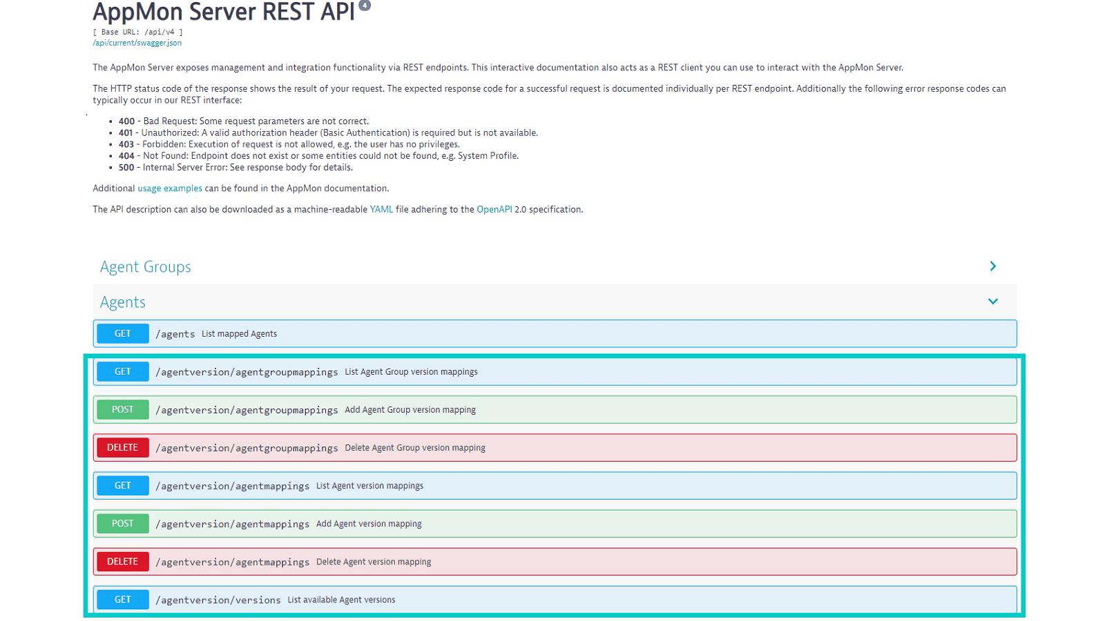 Automated agent version management via REST