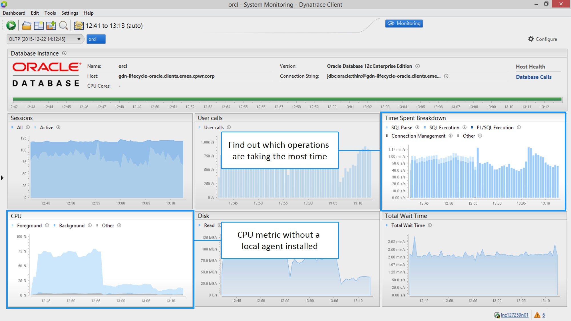 2. Find out which operations are taking the most time & see CPU metric without a local agent installed