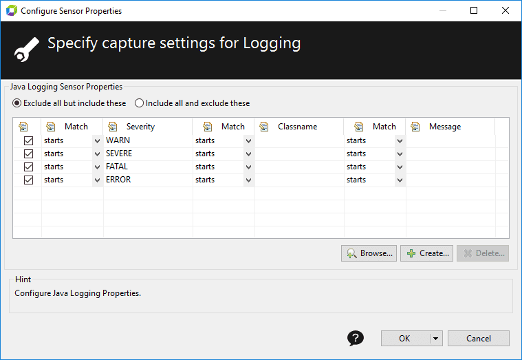 Log capture settings