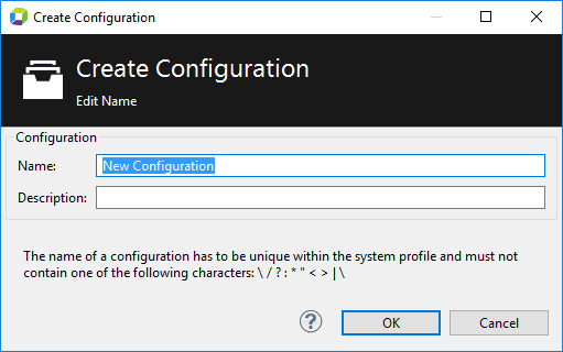 Create new configuration NEW_CONFIGURATION