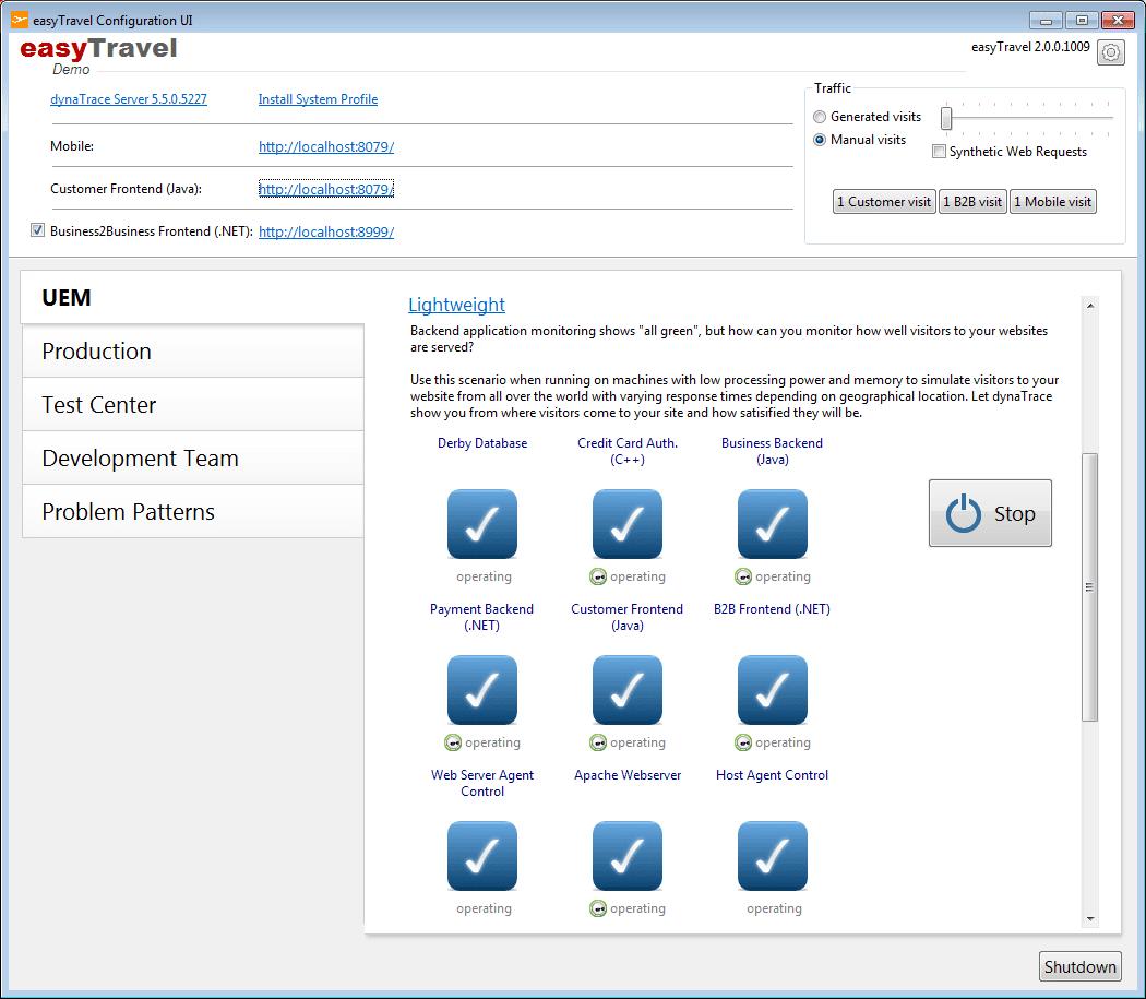 easyTravel UEM lightweight scenario