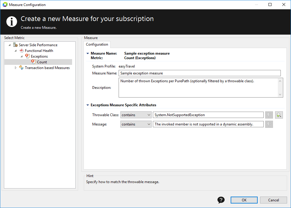 Create a measure based on exception