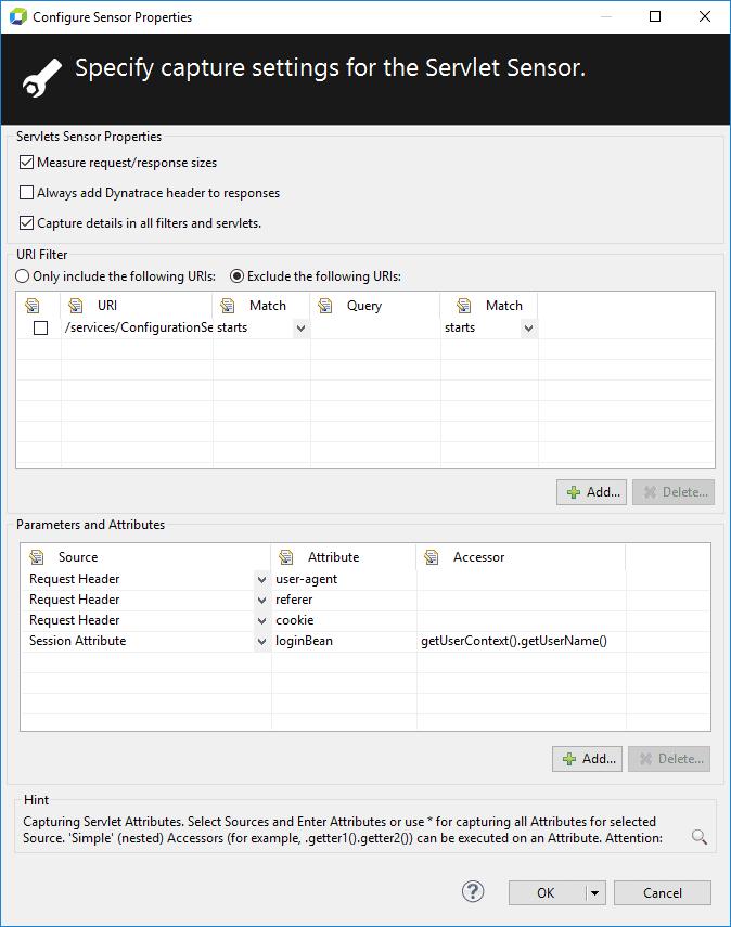 Configured Servlets sensor
