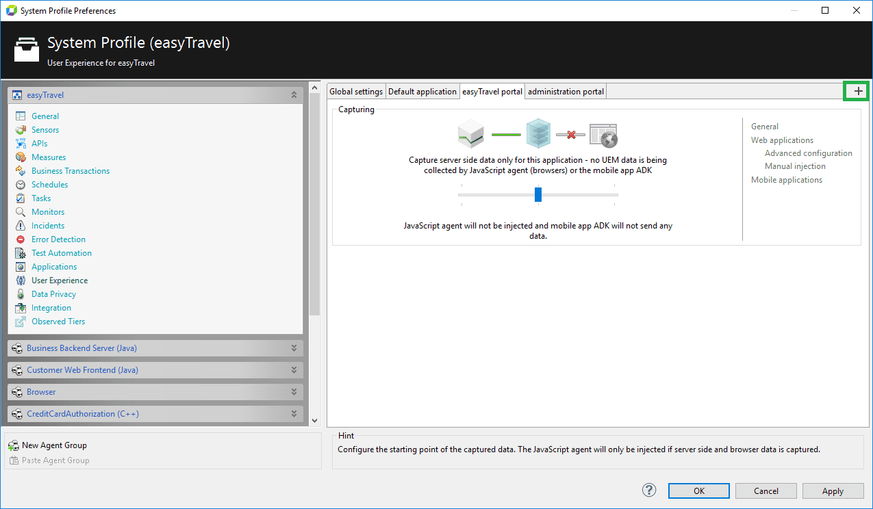 System Profile - Applications | AppMon documentation