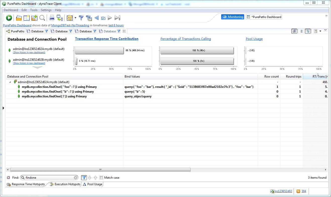 Database dashlet with bind values