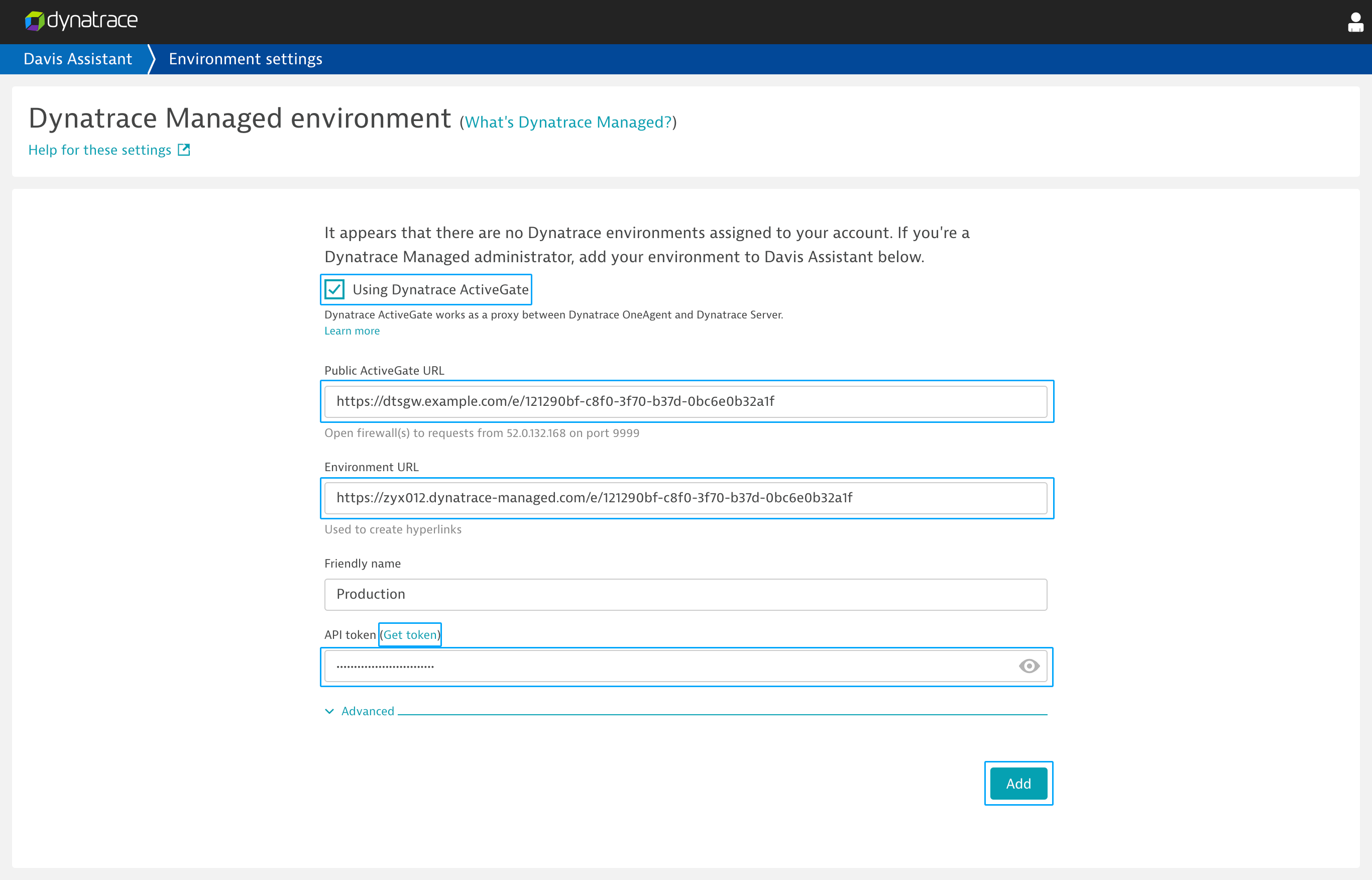 Add a managed environment to Davis Assistant