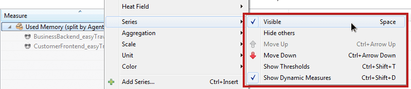 Manage visibility preferences using the 'Series' context menu.
