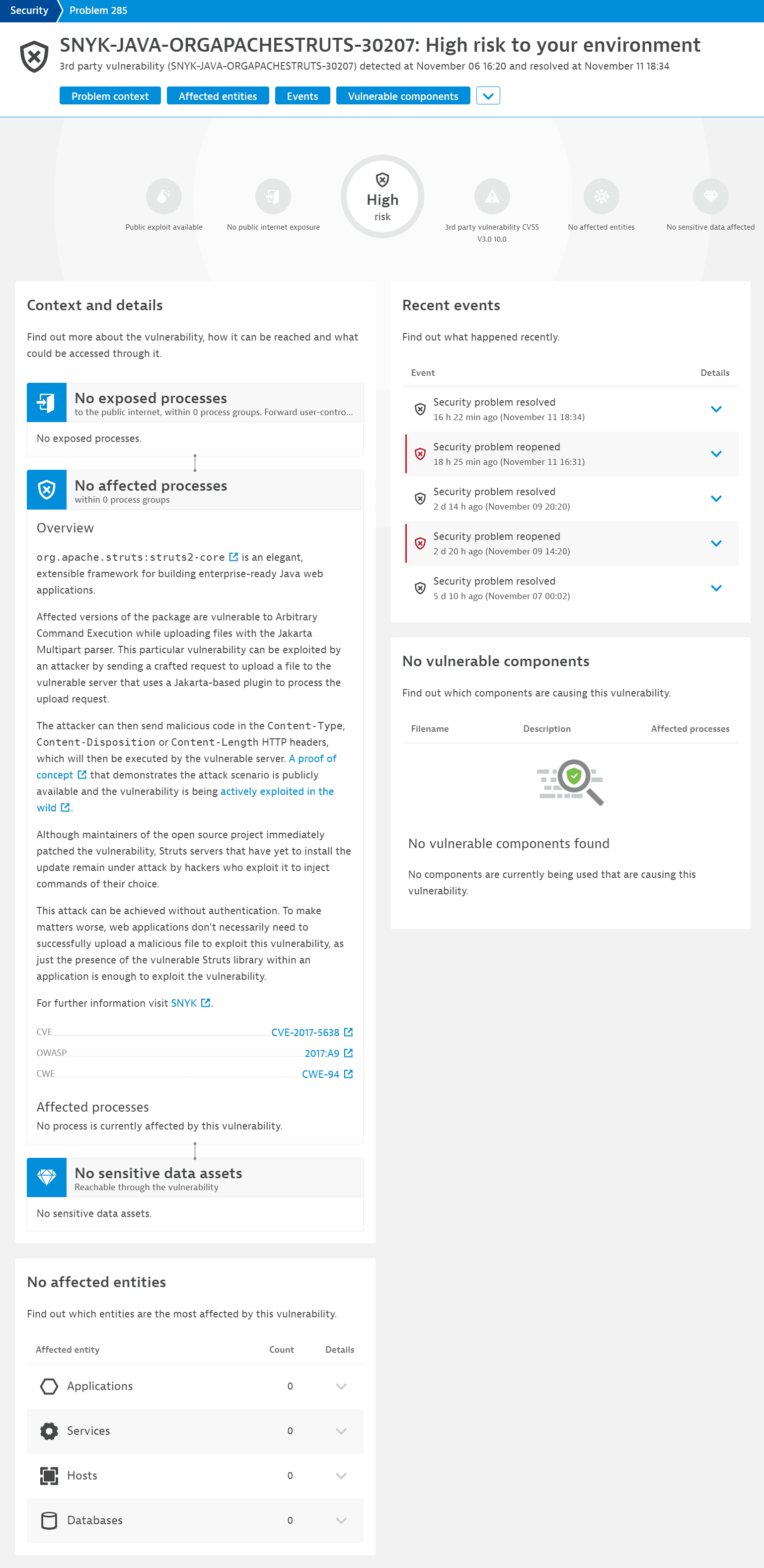 Example vulnerability details page