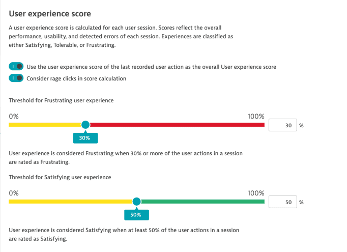 thresholds for user experience score