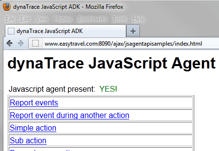JavaScript ADK Index Page