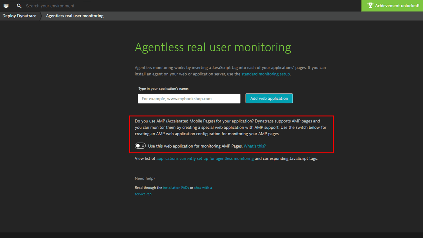 Dynatrace AMP monitoring one-click setup