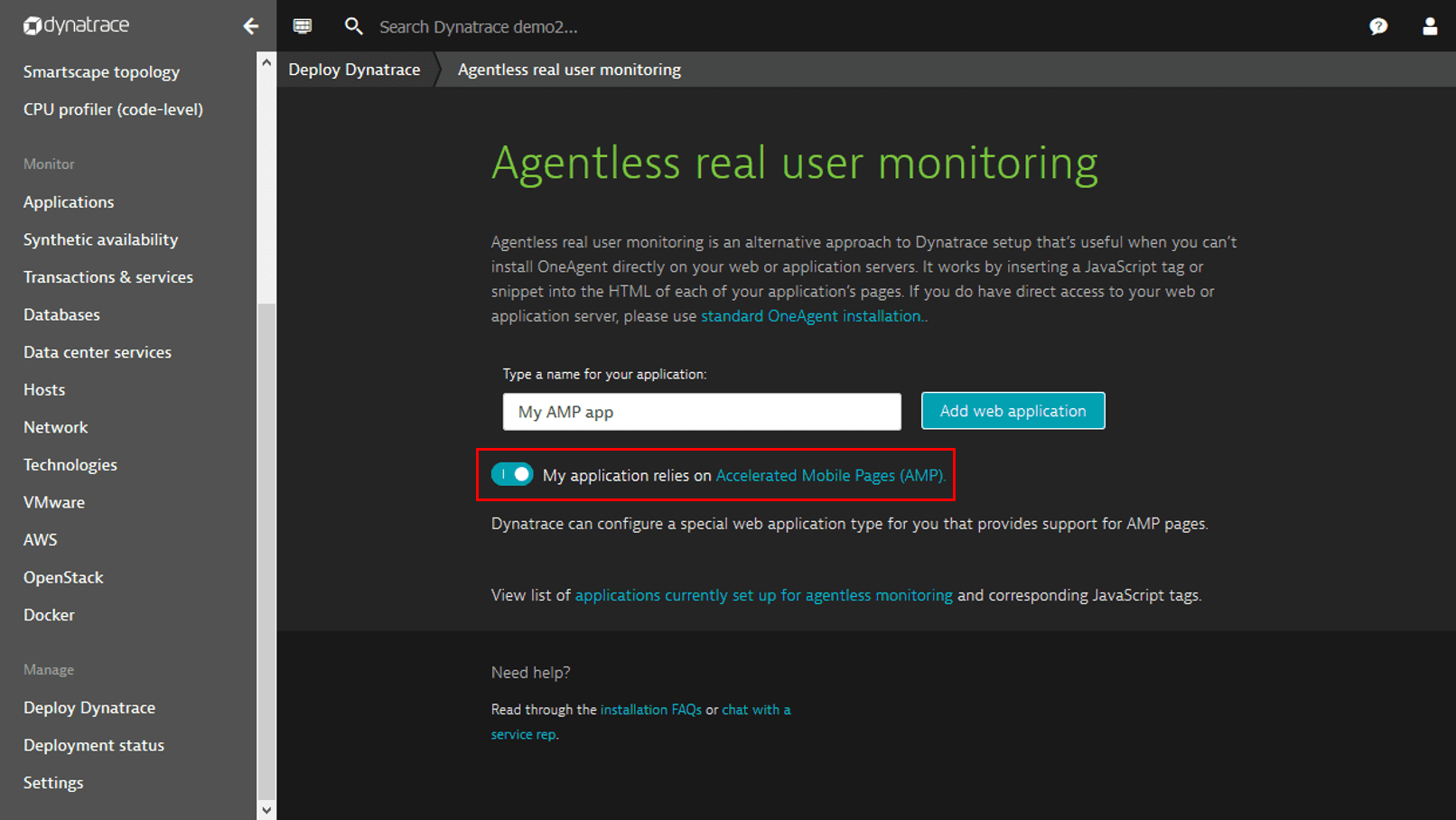 AMP application monitoring