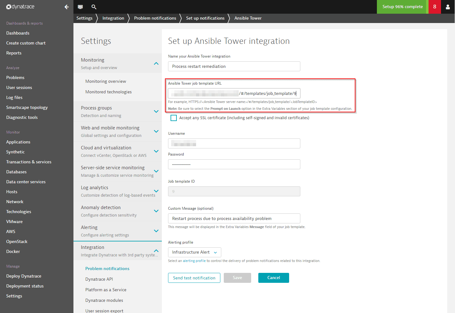 Dynatrace integration with Ansible Tower