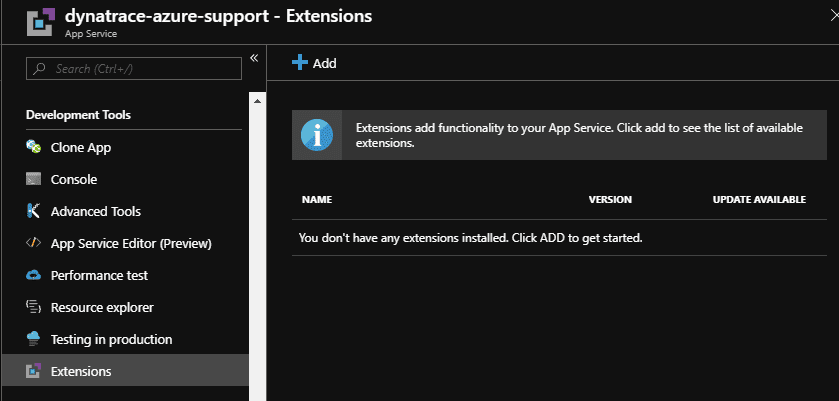 Add Azure Site-Extension