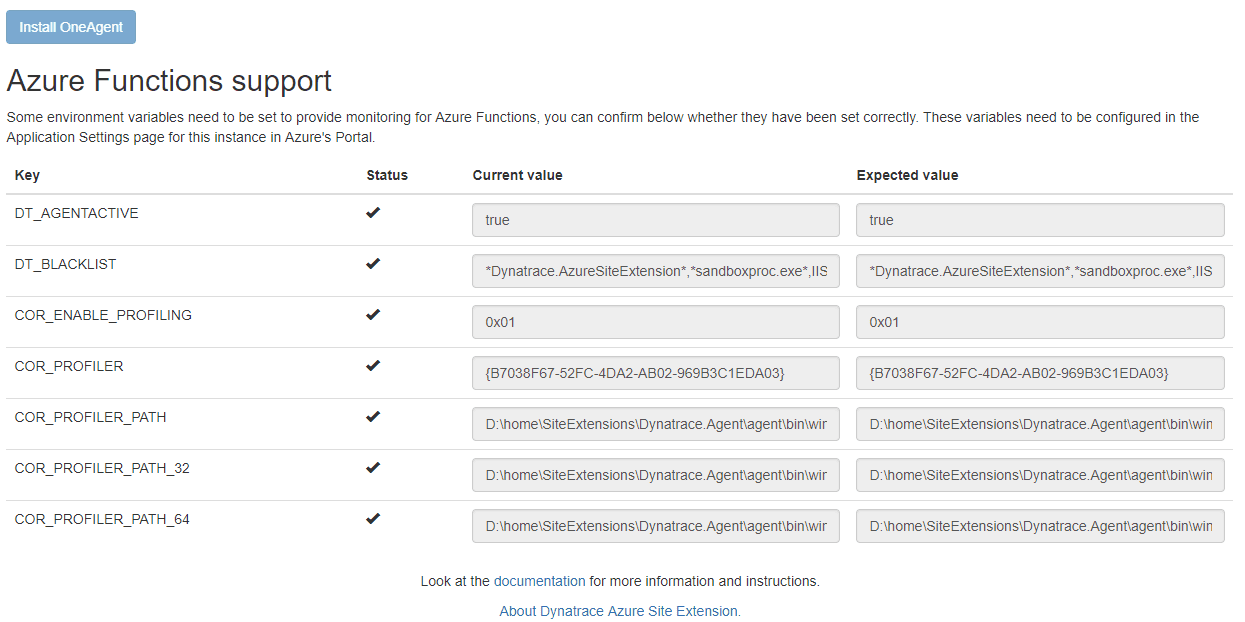 Azure Functions config