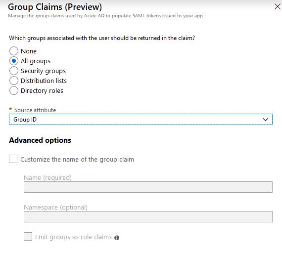 Azure: add group attribute to SAML