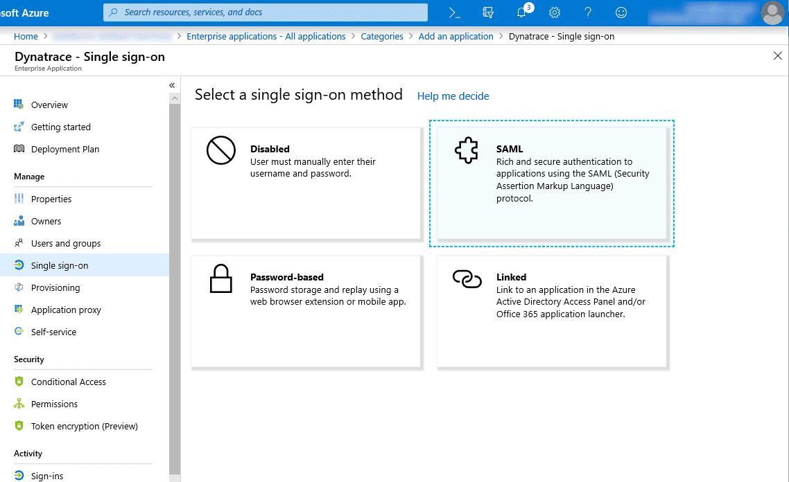 Azure: single sign-on method
