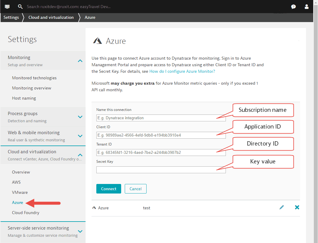 Configure Azure Monitor - connect to Dynatrace