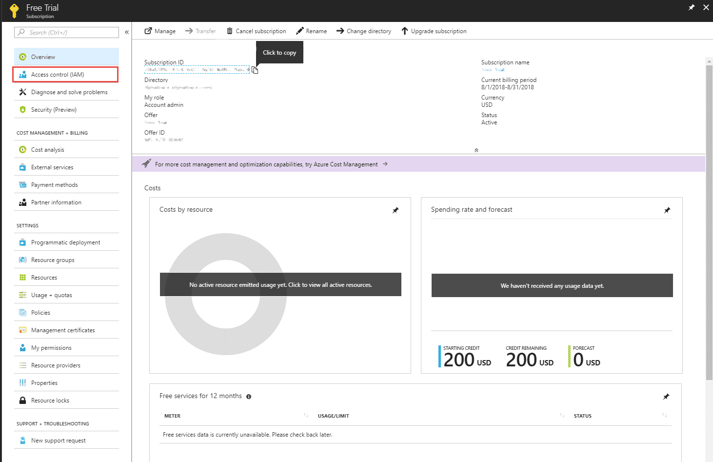 Configure Azure Monitor - create subscription