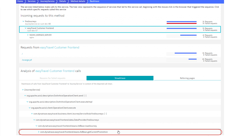 Service backtrace shows where service calls originate in your code.