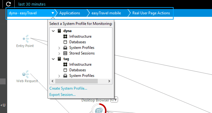 Breadcrumb navigation buttons and Select a System Profile for Monitoring drop-down menu