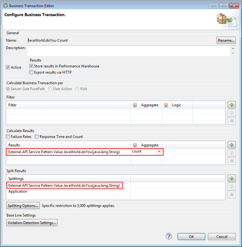 Screenshot 3: BT configuration dialog box for getting method execution count series