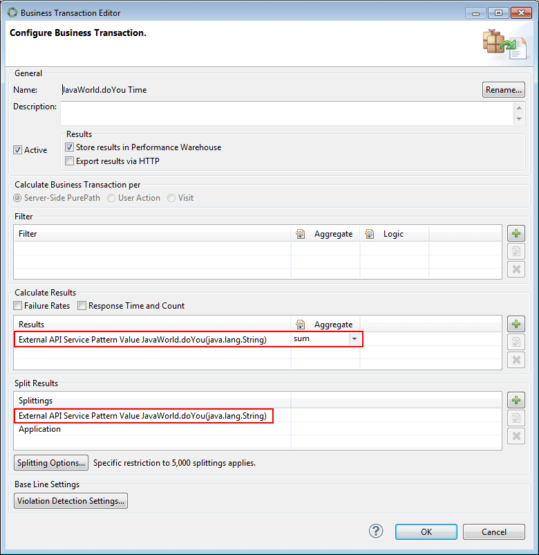 Screenshot 4: BT configuration dialog box for getting method execution time series