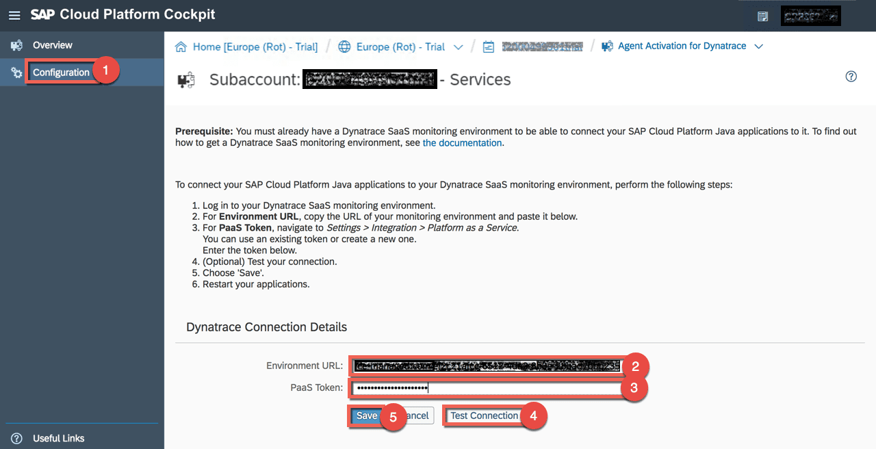 SAP Agent activation for Dynatrace