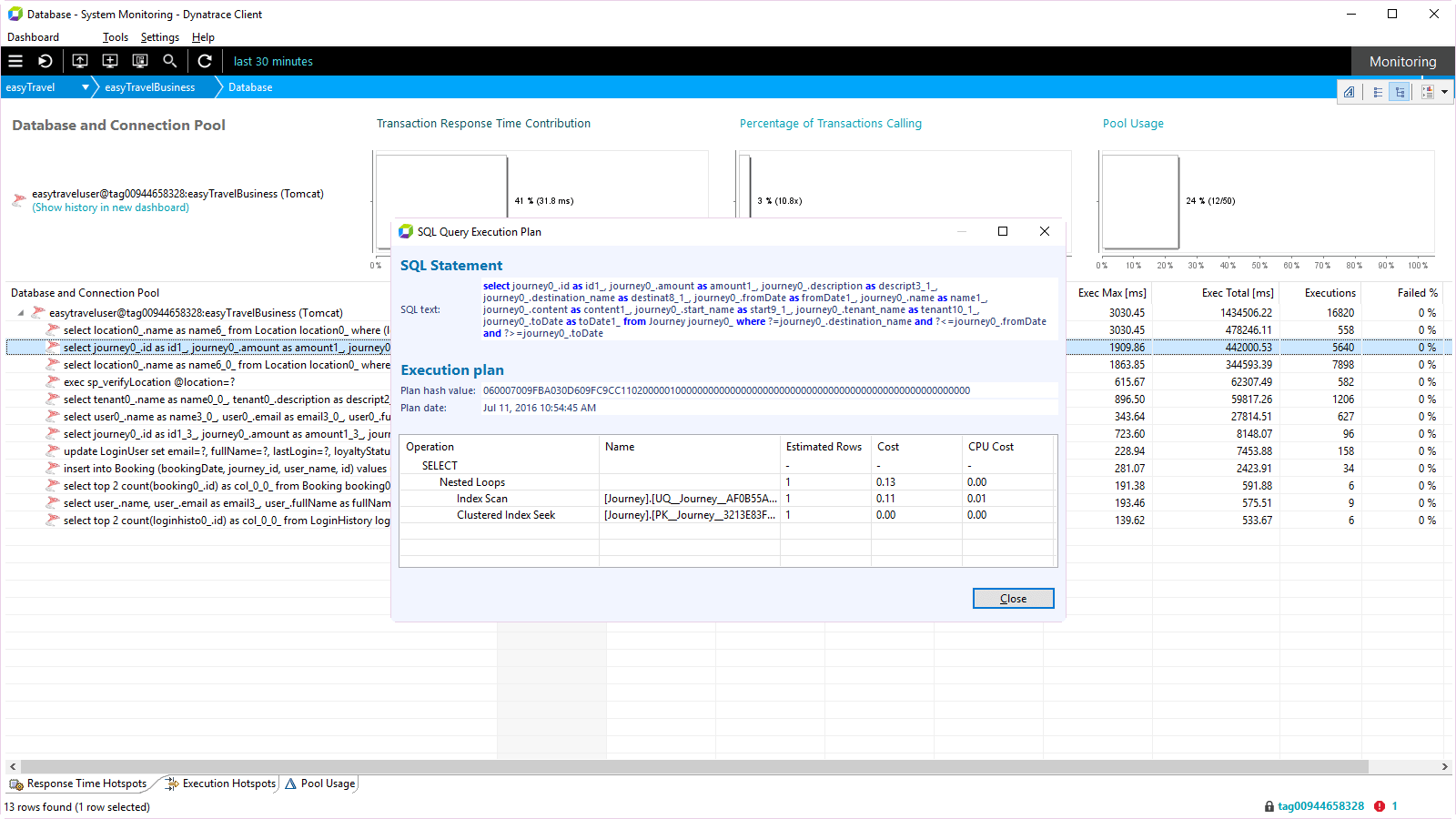 ... and see execution plan details like estimated rows, cost, and CPU cost.