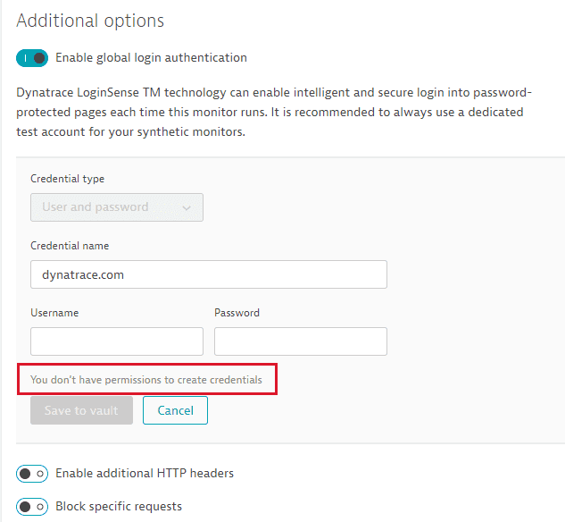 No permission to create credentials