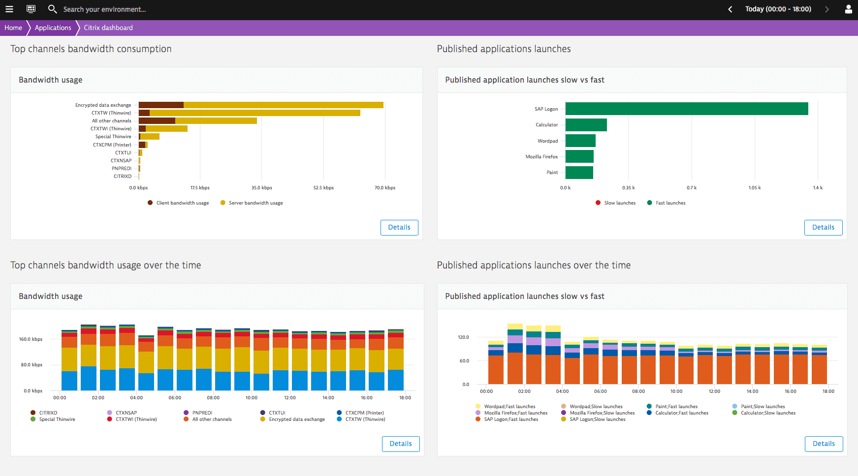 Detailed Citrix-specific performance reports