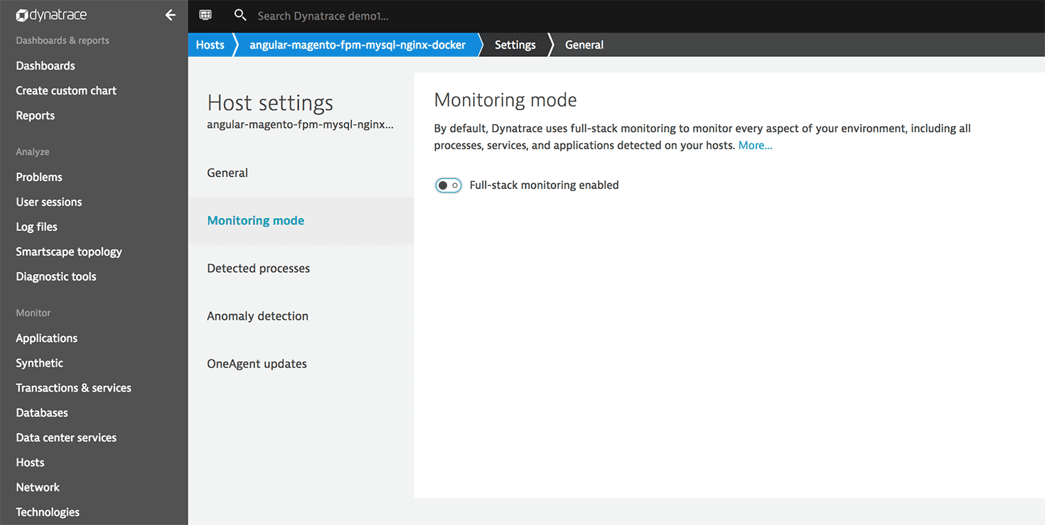 Cloud infrastructure monitoring mode enabled