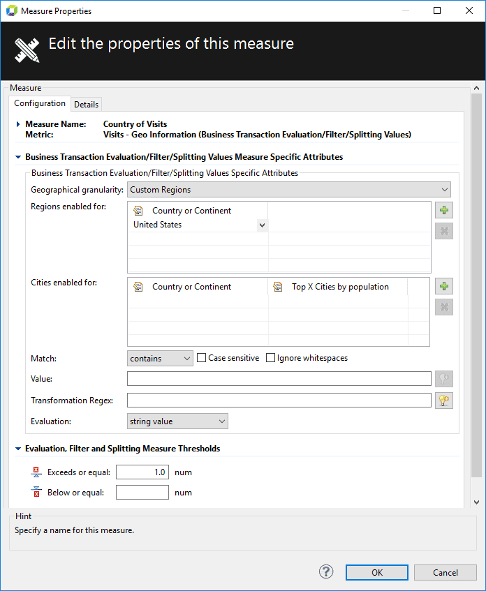 Measure configuration dialog box