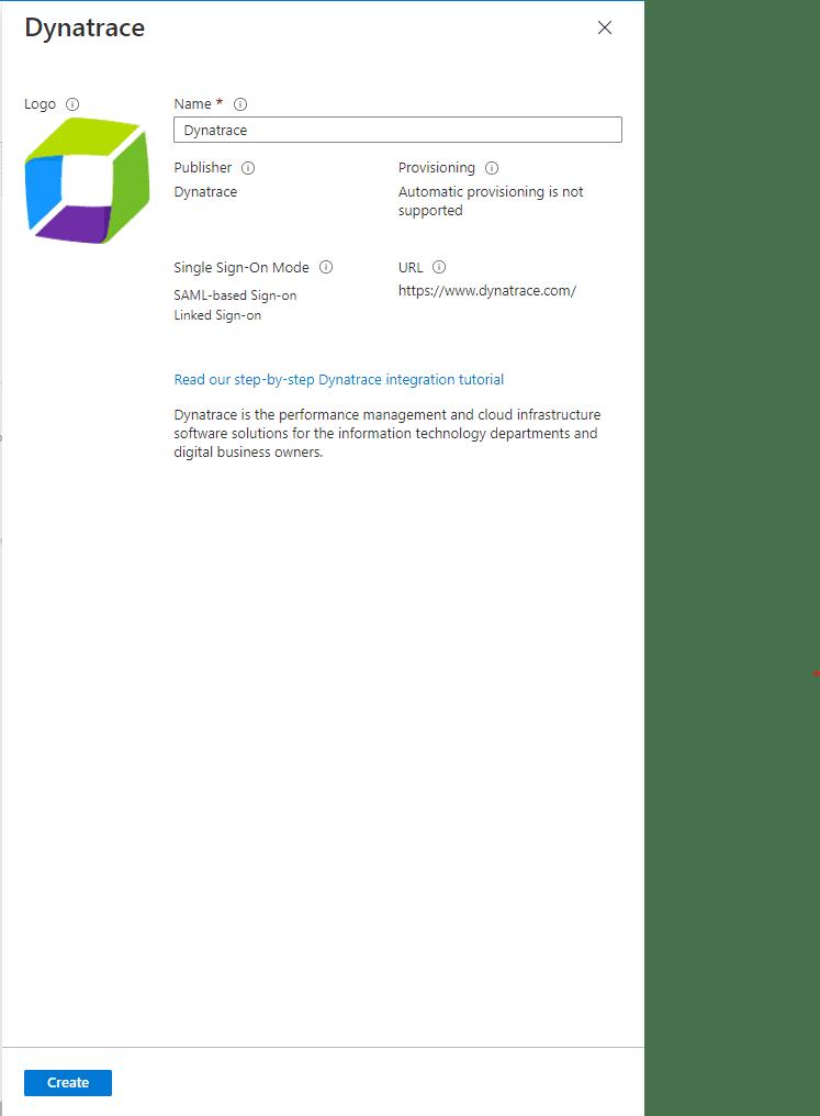 Create Dynatrace application