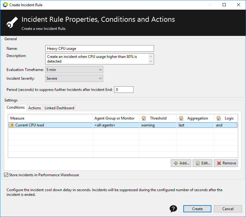 Incident rule configuration