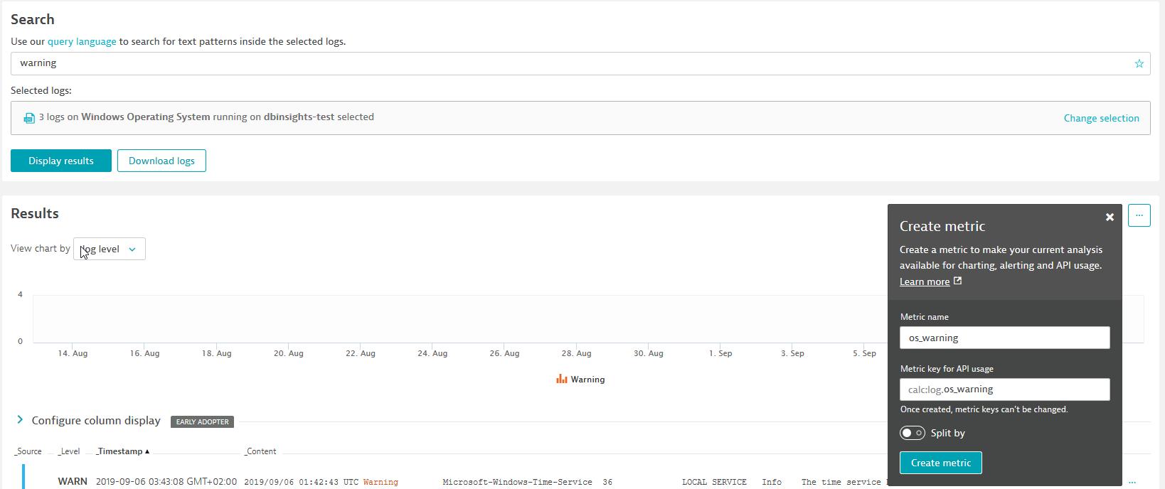 creating OS_warning custom metric for log monitoring