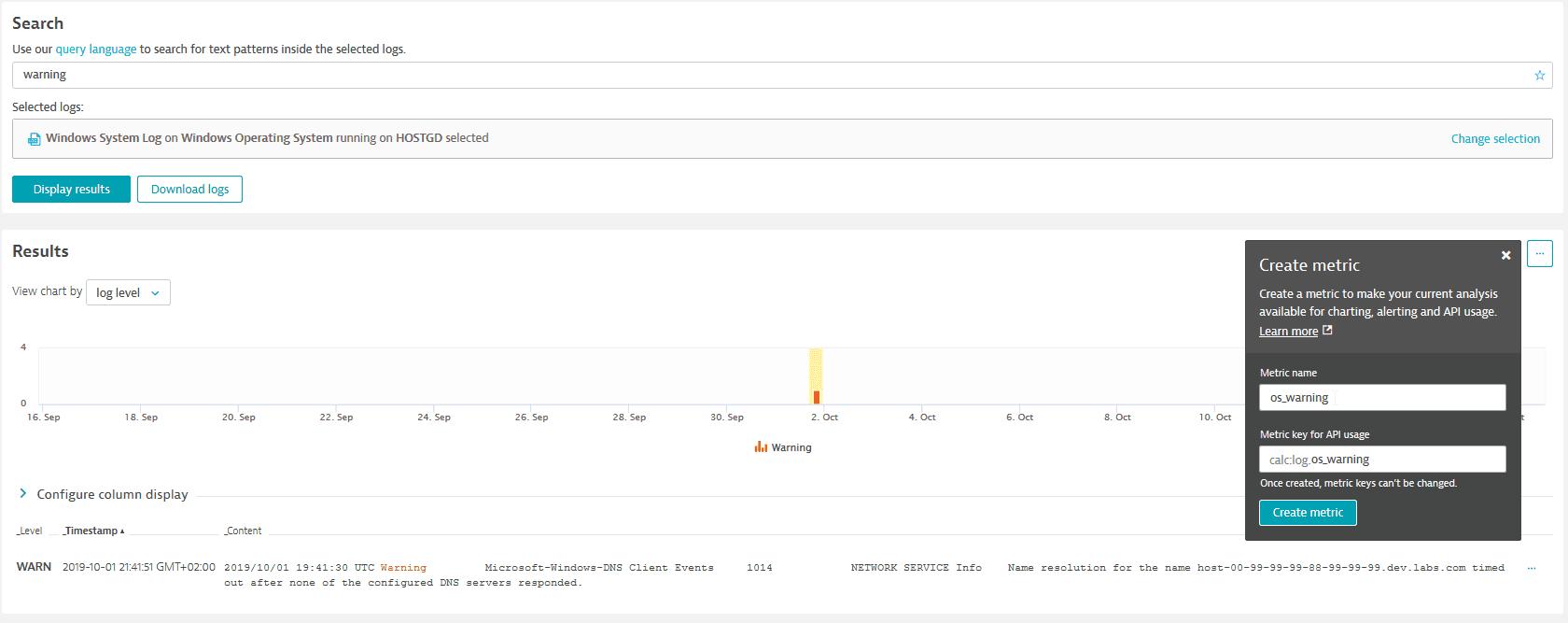 createing os_warning custom metric for log monitoring