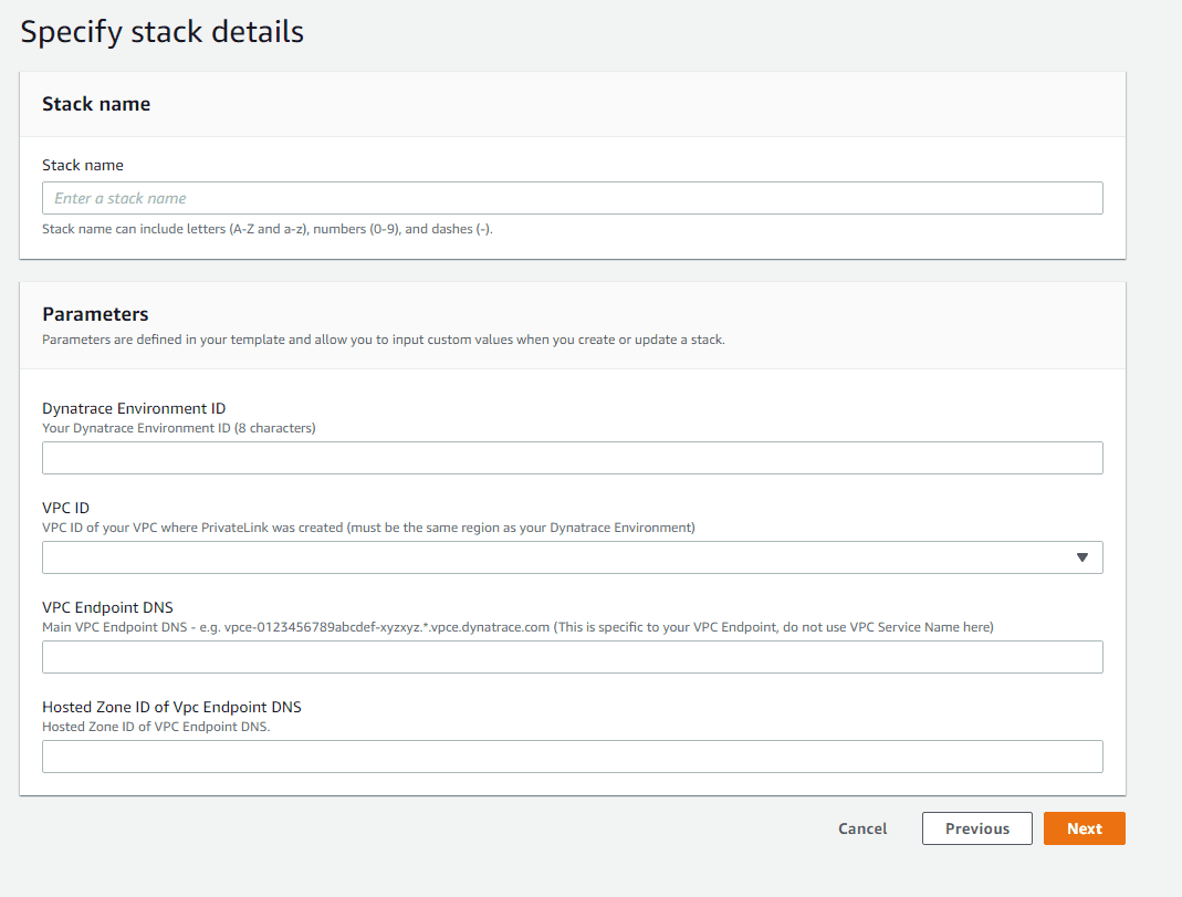 Specify stack details screen based on the template provided by Dynatrace