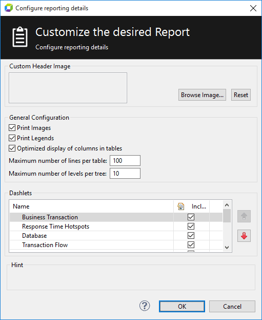 Customize dashboard report