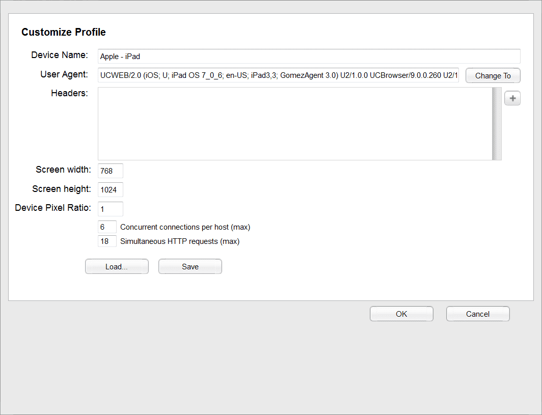 Customize profile window