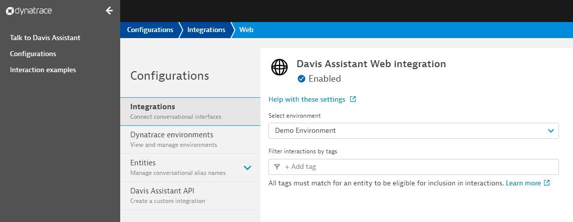 Davis Assistant Web integration settings