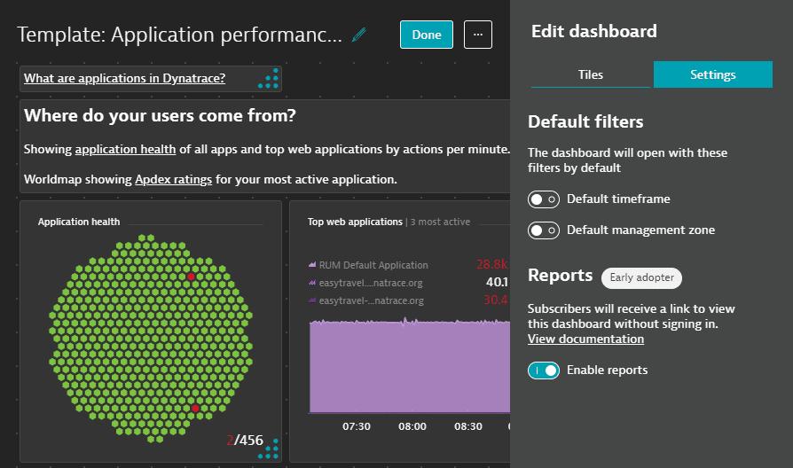 Dashboard report settings