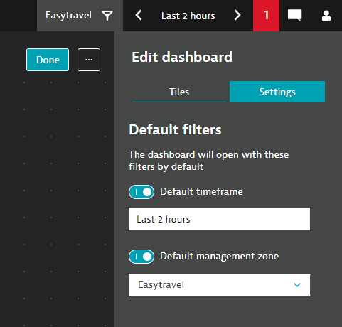 Dashboard settings allowing to configure default management zone and timeframe