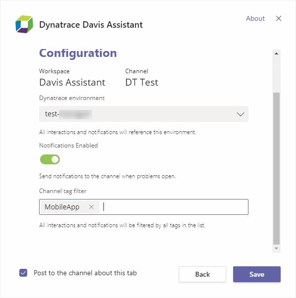 Davis Assistant tab settings