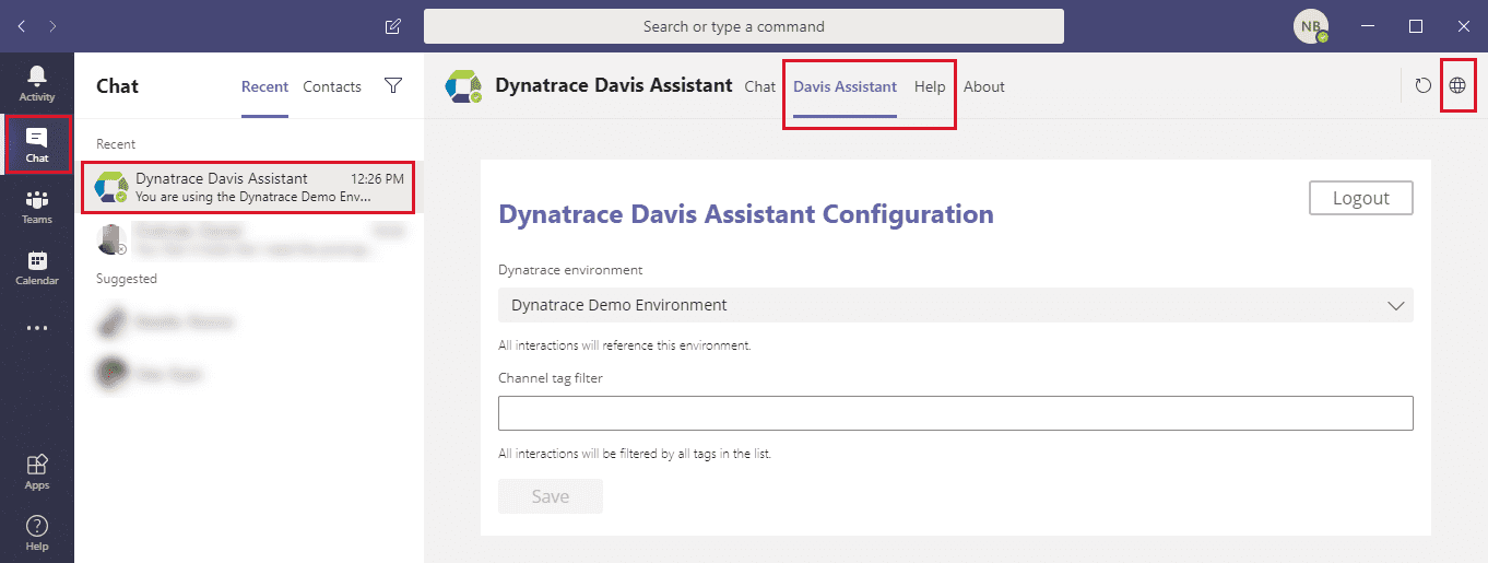 Teams Davis Assistant private chat settings