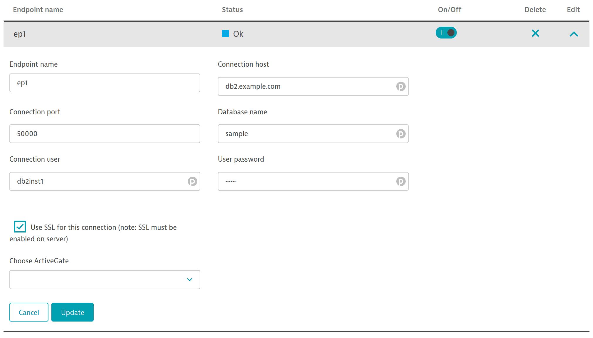 IBM DB2 ActiveGate extension endpoint configuration