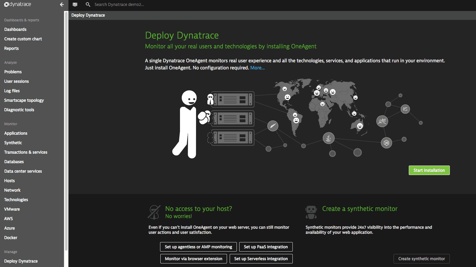 Dynatrace deployment screen