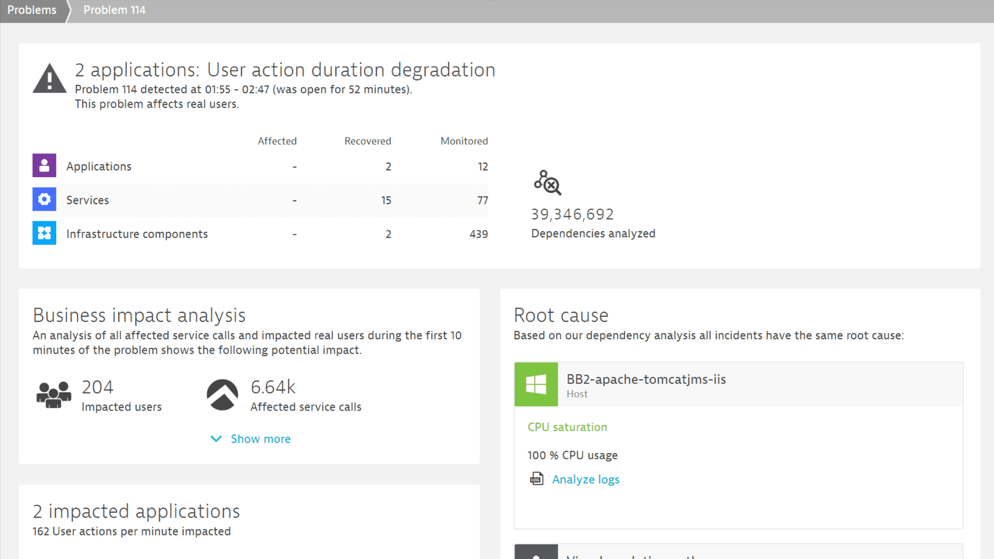 Dynatrace offers business impact analysis