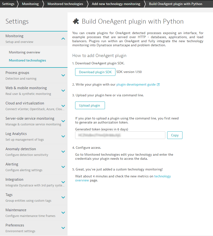 Download OneAgent Plugin SDK