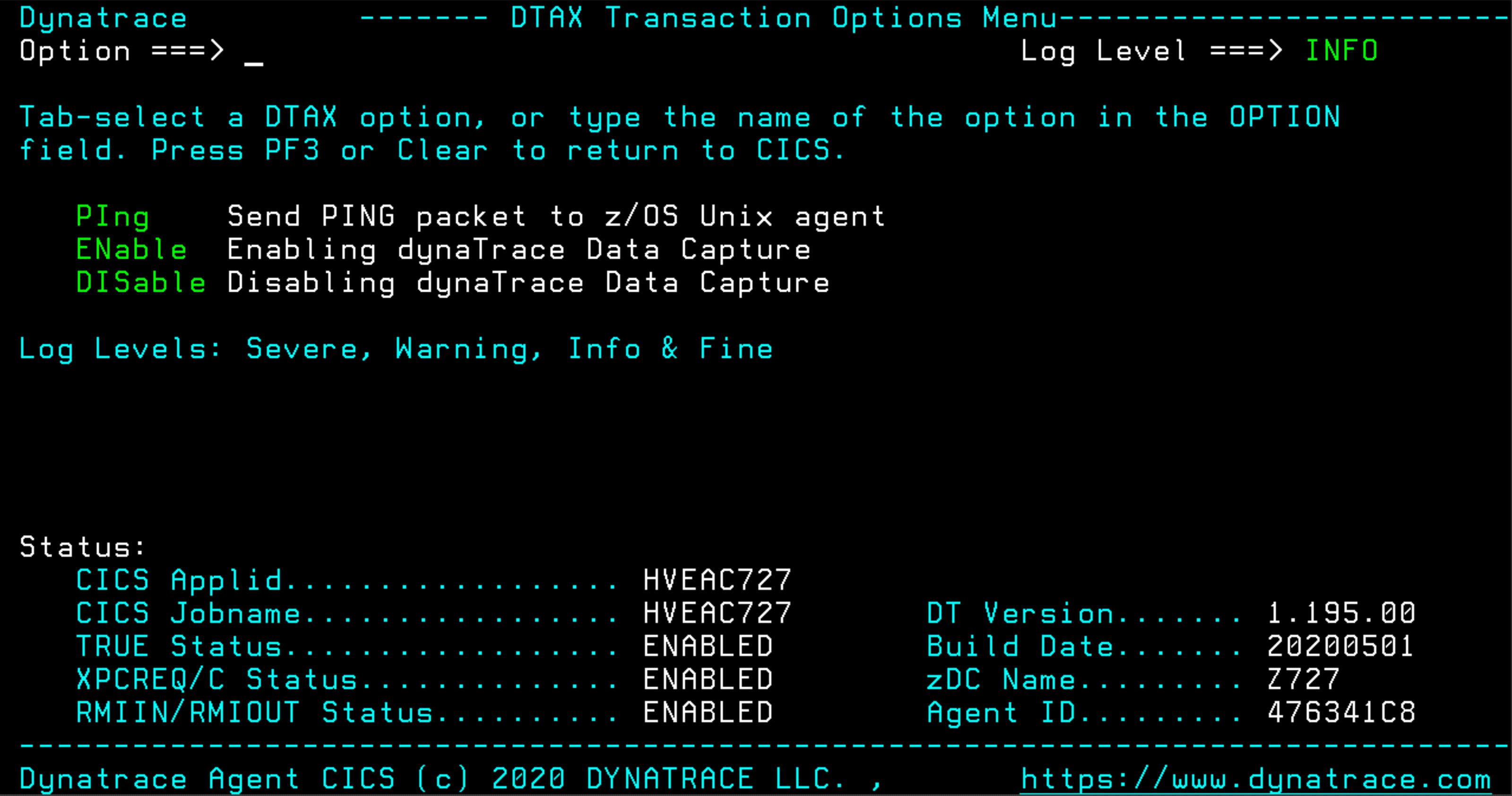 DTAX main menu